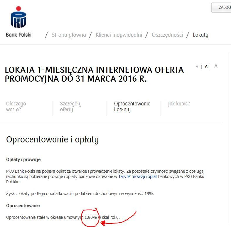 """Tak wygląda """"promocyjna"""" lokata PKO BP"""