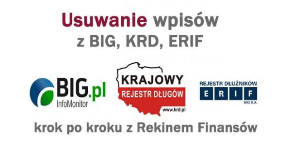 usuwanie wpisów z rejestrów dłużników BIG ERIF KRD